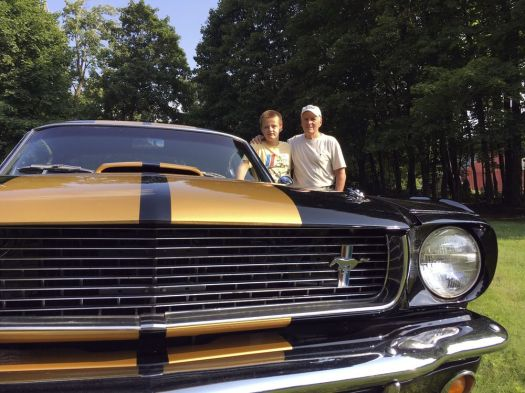Gary Arnold of Harwinton and his grandson, Garrett Gallo, 11, of New Hartford, stand next to Arnold's 1966 Shelby GT350H. Arnold and his grandson will be honored for all their work during the annual car show at Goshen Fairgrounds. Bruno Matarazzo Jr. Republican-American