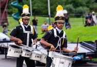 WATERBURY, CT. 20 August 2018-082018 - Berkeley Knights drummers Darren Richards, left and Messiah groove to the beat during practice of their World Championship award winning routine the parking lot of the Berkeley City Recreation Center in Waterbury on Monday evening. Bill Shettle Republican-American