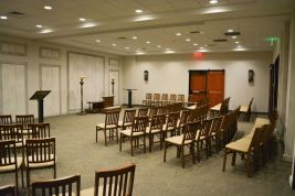The funeral parlor at Brookside Memorial can hold about 175 people. A dividing wall can be extended down the middle to break the room into two smaller rooms.Contributed.