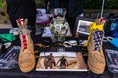 NAUGATUCK, CT. 29 September 2018-092918 - Boots worn by soldiers, now filled with concrete sit on a table of the Mission 22 booth, making people aware of veterans suicides during the third annual Ion Bank/Mission 22 Fall Festival in downtown Naugatuck on Saturday. Bill Shettle Republican-American