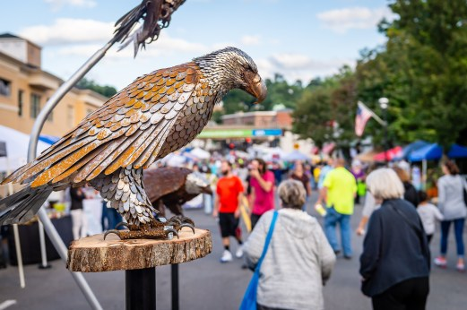 NAUGATUCK, CT. 29 September 2018-092918 - An metal sculpture Eagle watches over the streets during the third annual Ion Bank/Mission 22 Fall Festival in downtown Naugatuck on Saturday. Bill Shettle Republican-American
