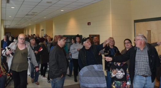 The long line to vote at Terryville High School in Plymouth at about 12:30 p.m. on Tuesday. Extra ballots had to be delivered to the polling site due to the heavy turnout. Jacqueline Stoughton/Republican-American