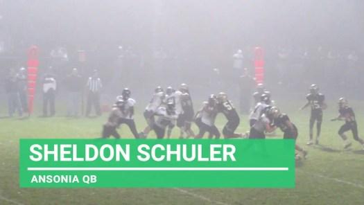 Ansonia quarterback Sheldon Schuler in action