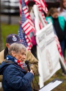 WATERTOWN, CT-121518JS02- Paula Vitetta, Regent for the Trumbull-Porter Chapter of the Daughters of the American Revolution, welcome guests to the annual Wreaths Across America ceremony held Saturday at the Old Burying Ground in Watertown. The event was hosted by the Trumbull-Porter Chapter of the Daughters of the American Revolution and the Waterbury Veterans Memorial Committee. Jim Shannon Republican American