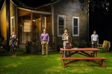 From left, Elizabeth Ramos, Brian Sgambati, Cindy Cheung, Paul Pontrelli in a scene from 'Tiny Beautiful Things,' now playing at Long Wharf Theatre in New Haven. (T. Charles Erickson photo)
