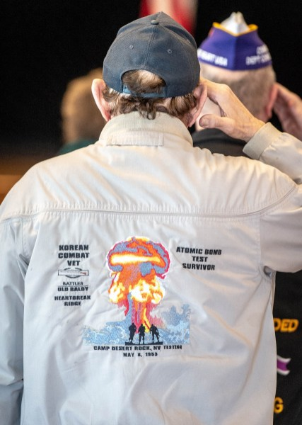 TORRINGTON, CT-022819JS02- A jacket worn by one of the veterans during the Torrington Veterans Support Committee's Gulf War Veterans Day Observance Thursday at Coe Park in Torrington. Officials, guests, veterans and current military personnel were on hand to honor veterans of the Gulf War and the War on Terror. Jim Shannon Republican American