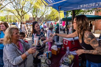 NAUGATUCK, CT. 18 May 2019-051819 - Krystal Chapman, right, serves up cocktails to Cathy Bosco of Naugatuck, left, and her friend Lisa Garand of Wallingford, during the annual Ion Bank/Naugatuck Spring Festival on Church Street in Naugatuck on Saturday. Bill Shettle Republican-American