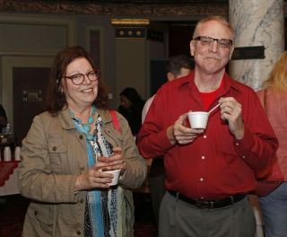 (from left) Robin Griskus and John E. Houston gathered for the during the third annual UNICO meatball contest at the Palace Theatre Tuesday evening. Francine Nido, national secretary, said this was the third year for the event with eleven local restaurants participating and two-hundred twenty-five pre-paid ticket holders along with many hungry people paying at the door. Nido stated that the funds raised during this contest will benefit local scholarships and charities. Michael Kabelka / Republican-American