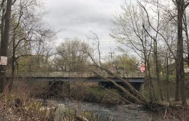 A tree toppled onto a bridge carrying Route 44 over the Still River on Wednesday morning. Contributed