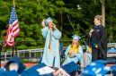 Oxford graduate Christina Cevetillo yells out from the stage with Oxford High School Principal Dorothy Potter looking on during commencement ceremonies at Oxford High School on June 11, 2019. Bill Shettle/Republican-American