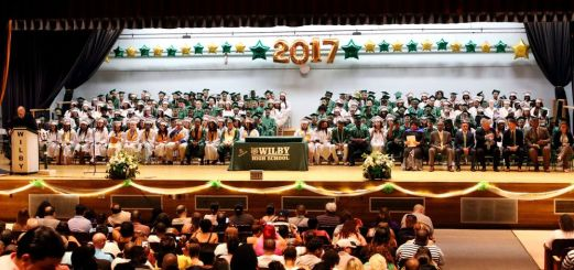 Graduates sit on stage during the Wilby High School graduation ceremonies Wednesday in Waterbury.Steven Valenti Republican-American