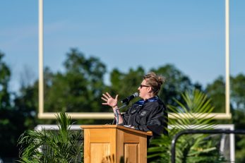 Oxford High School Principal Dorothy Potter speaks during the commencement ceremonies at Oxford High School on June 11, 2019. Bill Shettle/Republican-American