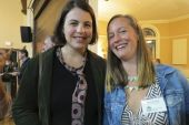 Megan Musgrove of Millerton, NY, and Megan Sher, library assistant director from Falls Village.