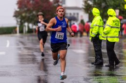WATERBURY, CT. 27 October 2019-102719BS683 - Runners, running in the 5k Race for Awareness, race by the walkers on East Main Street, during the eleventh annual walk and race fundraiser for the St. Vincent DePaul Mission of Waterbury on Sunday. Bill Shettle Republican-American