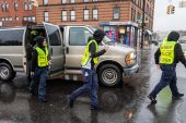 WATERBURY, CT. 27 October 2019-102719BS692 - Waterbury Police Explorers exit a van to help with traffic control, during the eleventh annual walk and race fundraiser for the St. Vincent DePaul Mission of Waterbury at downtown Waterbury on Sunday. Bill Shettle Republican-American