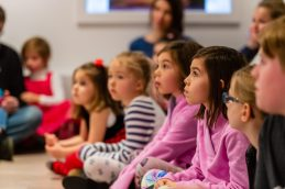 """WOODBURY, CT. 24 November 2019-112419BS210 - Children from the audience look on, during a performance of the popular Christmas Tale """" The Nutcracker """" for children and families at the Woodbury Public Library gallery on Sunday. Bill Shettle Republican-American"""