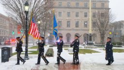 Waterbury Police and Fire Department Honor Guard lead the march from City Hall to the Basilica of the Immaculate Conception for a Mass, following the inauguration for newly elected and re-elected officials Sunday at Waterbury City Hall. Jim Shannon Republican-American
