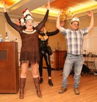 Performing in the Possum Queen Contest and Auction at the Litchfield Inn on Wednesday are, from left, Lesley Budny of Litchfield, Jeremy Stickney of Litchfield, and Dan Kobylenski of Goshen. John McKenna Photo