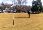 WATERBURY - Bill Cremins of Middlebury lips out on his final hole of the day as he enjoys the warm temperatures by playing a round of golf in January at the Waterbury Country Club on Sunday. Temperatures reached into the 60s for the second day in a row. Bill Shettle Republican-American