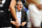 Connecticut head coach Geno Auriemma calls out to his team in the second half of an NCAA college basketball game against Cincinnati, Thursday, Jan. 30, 2020, in Storrs, Conn. (AP Photo/Jessica Hill)