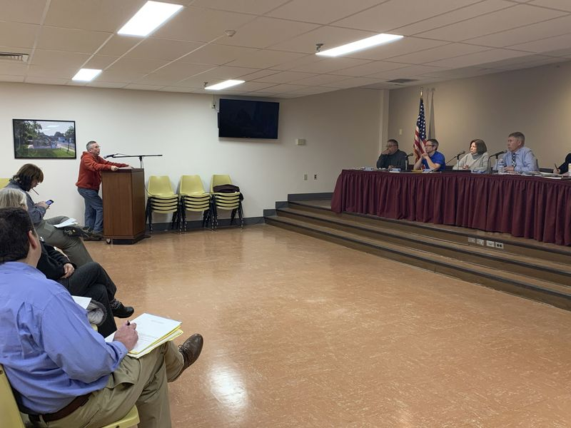 Parks and Recreation Commission Chairman Gerard Bourbonniere asks the Town Council for approval of an appropriation of $45,000 to fund the purchase of a new dump truck for the Parks and Recreation Department. Jacqueline Stoughton/Republican-American