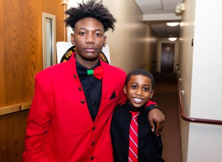 """Waterbury NAACP Youth Council president Amari Brantley, 17, and Jabari Hendricks, 9, the youngest member of the Waterbury NAACP Youth Council, at the """"Men with a Purpose"""" luncheon, a Dr. Martin Luther King, Jr. event celebrating men, at Grace Baptist Church in Waterbury. The event was sponsored by the Waterbury NAACP Youth Council.Jim Shannon Republican-American"""