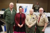 From left, Steven Smith, Scout executive from Hartford; state Rep. Stephanie Cummings, R-74th District; Paul Paloski, Catholic Committee; and John Shove, master of ceremoniesOn Jan. 18 the Boy Scouts of America Eagle class of 2019 was recognized at the Elks Social Hall in Waterbury. The class was one of the largest, with 55 newly minted Eagle Scouts from Greater Waterbury. The class completed more than 5,000 hours in Eagle service projects to help the community.