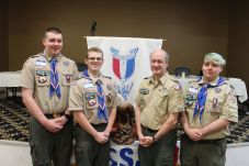 Troop 75, from left, Tom Mulvehill, Matt Reed, Scoutmaster Rob Reed and Jacob Hubbard