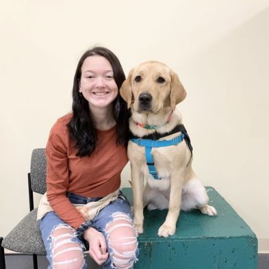ECAD Client/Graduate Grace Cutshall and Service Dog Royale from Mars Hill, N.C.