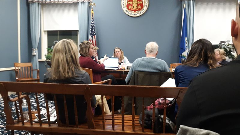 Winsted Superintendent Melony Brady-Shanley addresses a question from a school board member during her 2020-21 budget presentation at Town Hall on Tuesday night. Kurt Moffett Republican-American