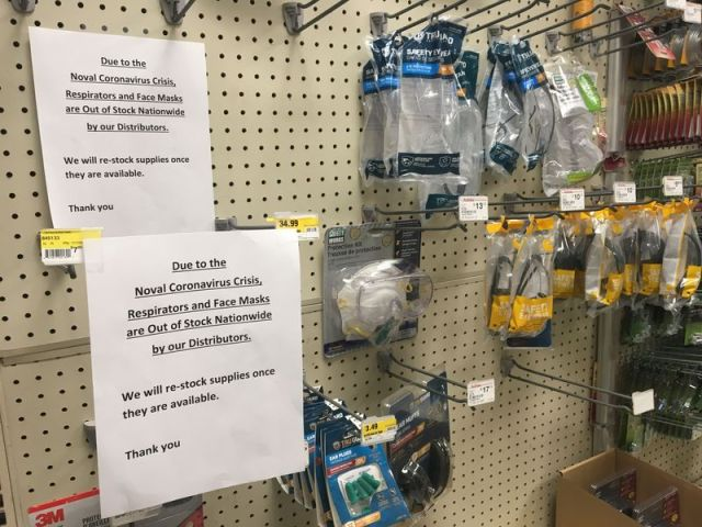 Signs posted in Kenecticut True value Hardware and Home Improvement informing customers of the facemask shortage. Harrison Connery/Republican-American