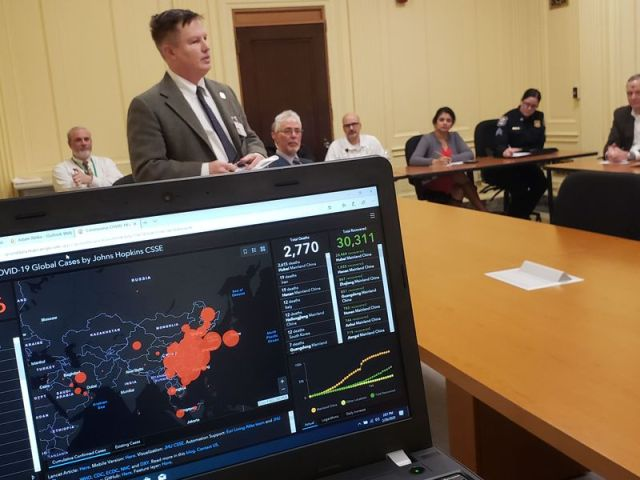 Michael Puffer Republican-American Dr. Paul Porter, chief medical officer for Saint Mary's Hospital in Waterbury, addresses a gathering of municipal, school, health care and emergency responder leadership Wednesday at the city's Chase Municipal Building. The city is holding weekly planning sessions to counter possible health threats from the new COVID-19 coronavirus.