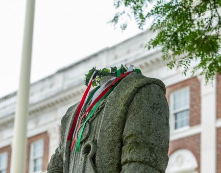 Someone removed the head of the Christopher Columbus statue in front of Waterbury City Hall in the early hours of Saturday.Jim Shannon Republican-American