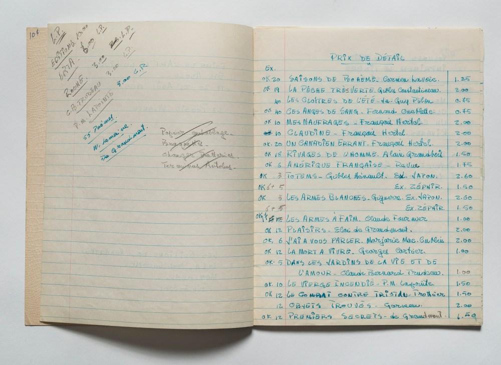 Cahier des ventes des Éditions de l'Hexagone à la Foire du livre de Sainte-Adèle
