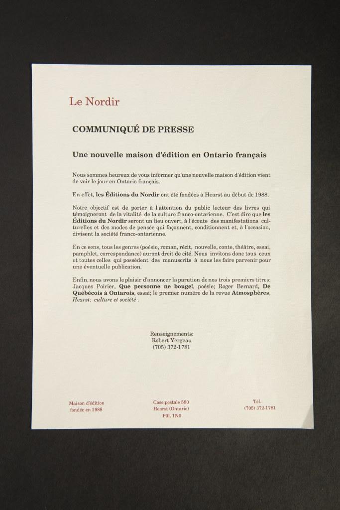 Le Nordir. Communiqué de presse. Une nouvelle maison d'édition en Ontario français.