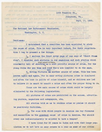 Letter from J. M. Blough to the National Law Enforcement Commission Requesting Legislation to Restrict the Purchase of Firearms, 9/10/1929