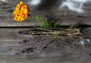 A Marigold flower and branches of Lavender on top of a wooden table at Friends at Brooke Park.