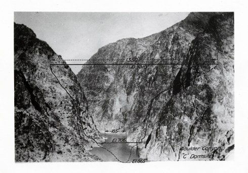 Photograph of the Boulder Canyon Dam site before construction (series 13912).