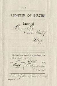 Cover for Report of Births