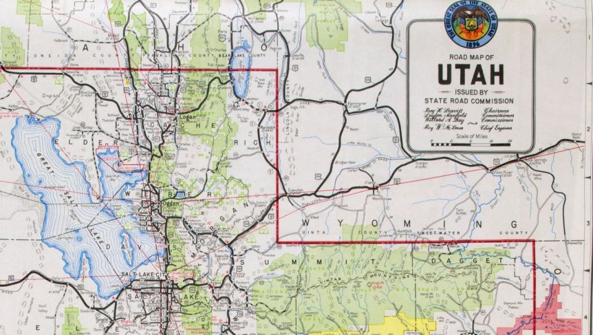 Part of road map of Utah