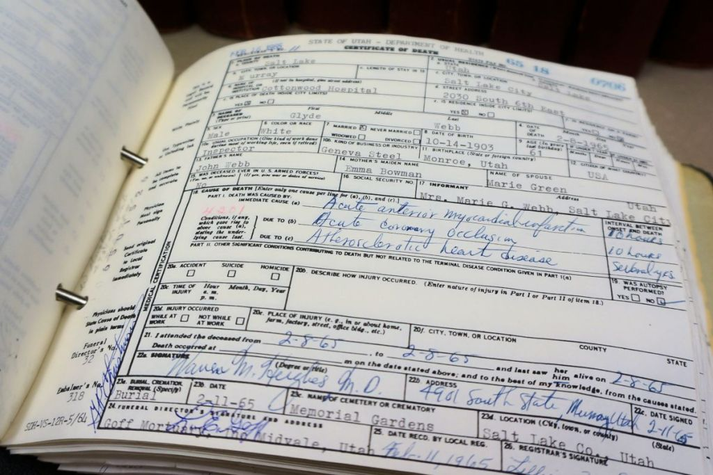 Browse Death Certificates Online, 1966-1967 - Utah State Archives ...