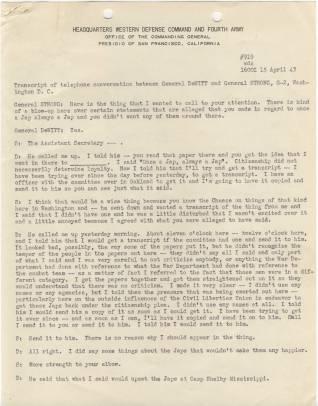 Transcript of telephone conversation between Gen. DeWitt and Gen. Strong p1