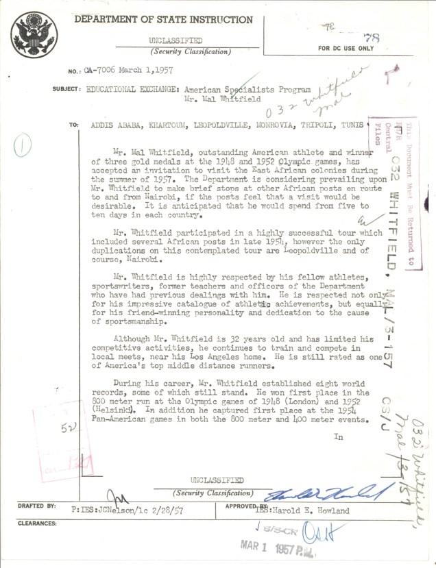 Dept of State to Addis Ababa, Khartoum, Leopoldville, Monrovia, Tripoli, and Tunis Mar 1, 1957