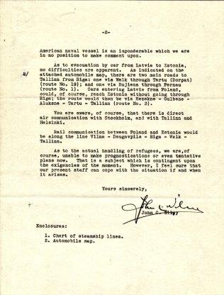 Letter from Ambassador John C. Wiley to Ambassador Biddle, August 21, 1939, P. 2