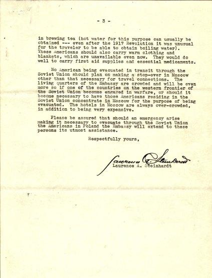 Letter from Ambassador Laurence Steinhardt to Ambassador Biddle, August 26, 1939, P.3