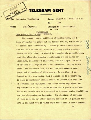 Telegram from Ambassador Biddle to the Department of State, August 21, 1939, P.1.