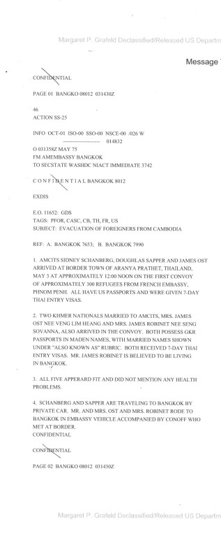 Telegram 1975BANGK008012, May 3, 1975 re: Evacuation of Foreigners from Cambodia