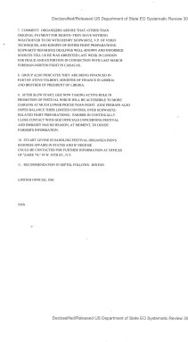 Telegram American Embassy Kinshasa subject: Request for US Government Assistance to Festival of Zaire 74