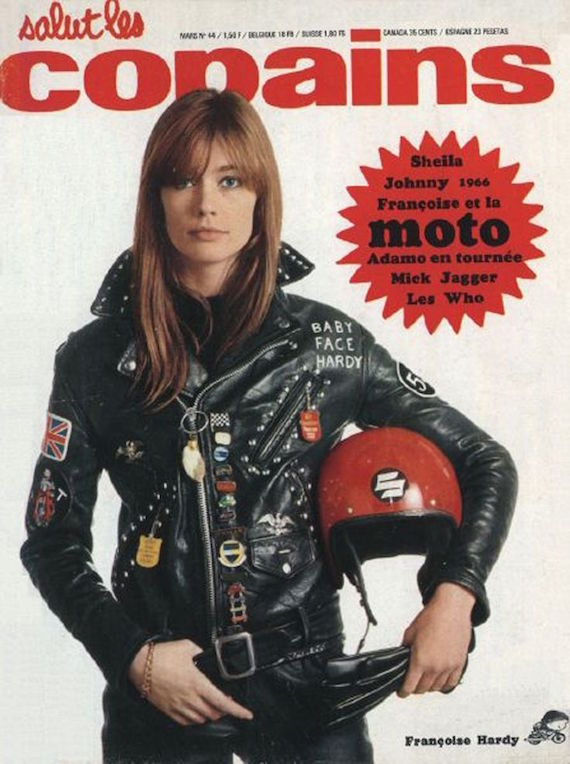 Archival image of French singer Françoise Hardy who wears a leather jacket on the cover of 'Salut les copains'