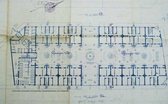 La Cité Jacobs, plan, 1908, Archives de l'Urbanisme de Schaerbeek | Jacobswijk, plan, 1908, Archieven van de Stedenbouw van Schaarbeek
